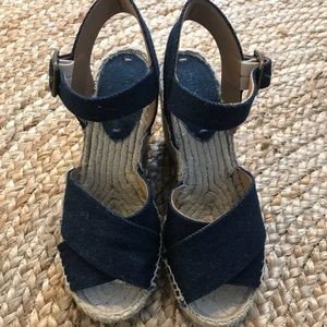 Soludos denim wedge espadrilles